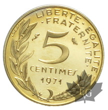 FRANCE-1971-5 CENTIMES PIEFORT-FDC