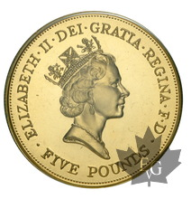 GRANDE BRETAGNE-1990-5 POUNDS-90Th Birthday-PROOF
