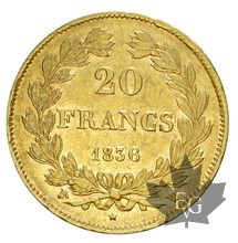 FRANCE-1836W-20 FRANCS-LOUIS PHILIPPE-TTB-SUP
