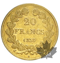 FRANCE-1838A-20 FRANCS-LOUIS PHILIPPE-PARIS-TTB+