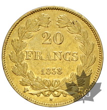 FRANCE-1838W-20 FRANCS-LOUIS PHILIPPE-TTB-SUP
