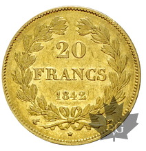 FRANCE-1842A-20 FRANCS-LOUIS PHILIPPE-PARIS-TTB+