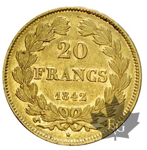 FRANCE-1842W-20 FRANCS-LOUIS PHILIPPE-PARIS-TTB-SUP