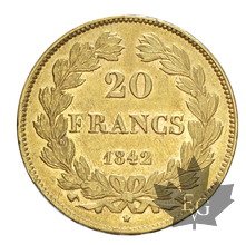 FRANCE-1842W-20 FRANCS-LOUIS PHILIPPE-PARIS-TTB+