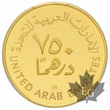 EMIRATES ARABES UNI-1980-750 Dirhams-PCGS PROOF 67 DEEP CAMEO