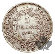 FRANCE-1848 A-5 FRANCS II RÉPUBLIQUE-TTB-SUP