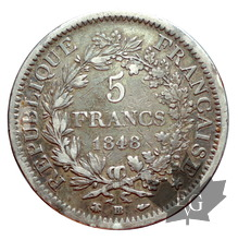 FRANCE-1848 BB-5 FRANCS II RÉPUBLIQUE-TB-TTB