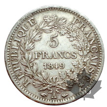 FRANCE-1849 A-5 FRANCS II RÉPUBLIQUE-TTB