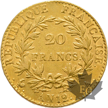 FRANCE-AN 12A-20 FRANCS-PARIS-1er Consul-TTB-SUP