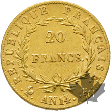 FRANCE-AN 14A-20 FRANCS-PARIS-Napoleon 1er-TTB-SUP