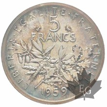 FRANCE-1959-PIEFORT en argent 5 Francs Semeuse-PCGS SP66