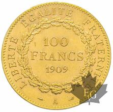 FRANCE-1909-100 FRANCS-III République-PCGS MS63