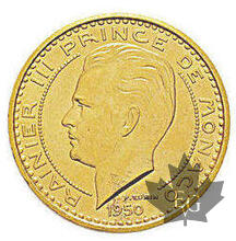 MONACO-1950-50 FRANCS PIEFORT OR-PCGS SP63