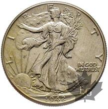 USA-1942-Half Dollar- Walking Liberty-Superbe