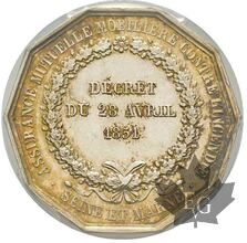 FRANCE-JETON-1819-Poinçon Corne-PCGS MS62 signature BARRE
