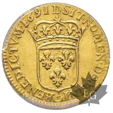 FRANCE-1691 D-1/2 Louis d'or à l'écu-PCGS AU50