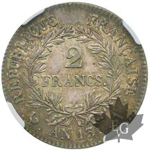 FRANCE-AN13 A-2 FRANCS-Premier Empire 1804-1814-NGC AU55