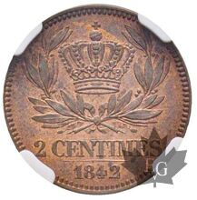 FRANCE-1842-Essai de 2 centimes-Louis Philippe-NGC MS63 RB