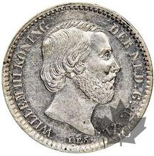 PAYS BAS-1859-10 CENTS-Netherlands Willem III 1849-1890-NGC AU55