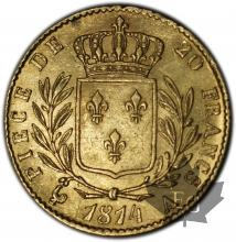 FRANCE-1814A-20 FRANCS Restauration-SUP