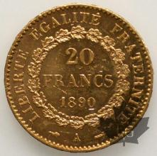 FRANCE-1890-20 FRANCS-SUP-FDC