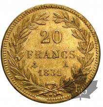 FRANCE-1831A-20 FRANCS-LOUIS PHILIPPE I- pr SUP