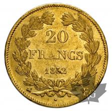 FRANCE-1832B-20 FRANCS- LOUIS PHILIPPE-TTB