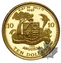 ANGUILLA-1969-10 DOLLARS-PROOF