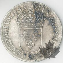 FRANCE-1642A point-1/2 Ecu-Louis XIII