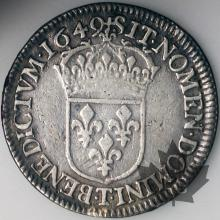 FRANCE-1649T-1/2 Ecu mèche longue-Louis XIV
