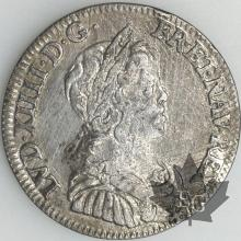 FRANCE-1644A point-1/4 Ecu-Louis XIV