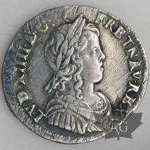 FRANCE-1650 9-1/4 Ecu mèche longue-Louis XIV