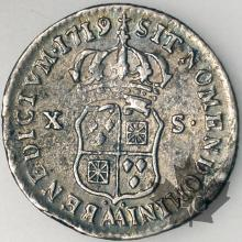 FRANCE-1719AA-1/12 Ecu-Louis XV