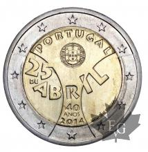 PORTUGAL-2014-2 EURO COMMEMORATIVE-FDC