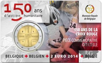 BELGIQUE-2014-2 EURO COMMEMORATIVE-150 ANS CROIX ROUGE-FDC