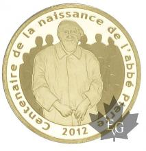 FRANCE-2012-5 EURO OR-ABBE PIERRE-PROOF