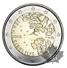 FINLANDE-2015-2 EURO COMMEMORATIVE- Jean Sibelius-FDC
