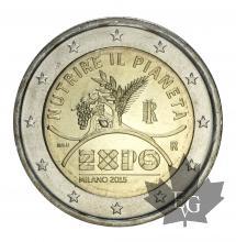 ITALIE-2015-2 EURO-COMMEMORATIVE-EXPO MILAN-FDC