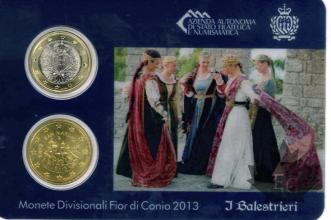 SAINT MARIN-2013-MINI KIT I BALESTRIERI-FDC- 1 EURO ET 50 CENT