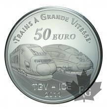 FRANCE-2011-50 EURO PIEFORT ARGENT-TGV GARE DE METZ-PROOF