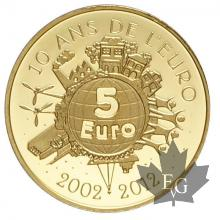 FRANCE-2012-5 EURO OR-10 ANS DE L'EURO-PROOF-MONNAIE DE PARIS