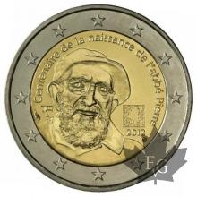 FRANCE-2012-2 EURO COMMEMORATIVE ABBE PIERRE