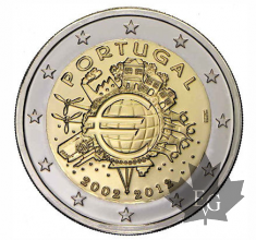 PORTUGAL -2012- 2 EURO COMMEMORATIVE-10 ANS EURO