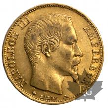 France-20 francs or BB-Strasbourg- 1858/59/60
