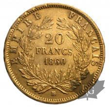 France-20 francs or BB-Strasbourg- 1858/59/60