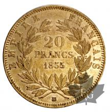 France-1855BB-20 Francs or-Strasbourg