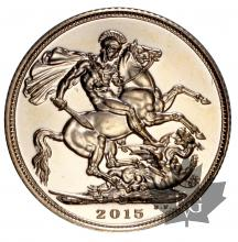 Royaume Uni - souverain or - sovereign gold - sterlina - 2015