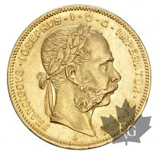 Autriche- 20 Frs - 8Fl-1870-1889-gold-or