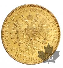 Autriche-10 Coronae- 1848-1908-gold or