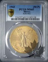 Mexique - 50 Pesos gold or - dates mixtes-PCGS MS65